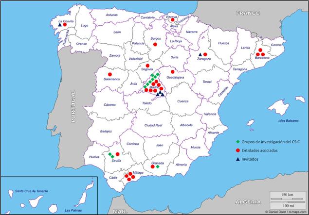 Mapa de distribución geográfica de asistentes
